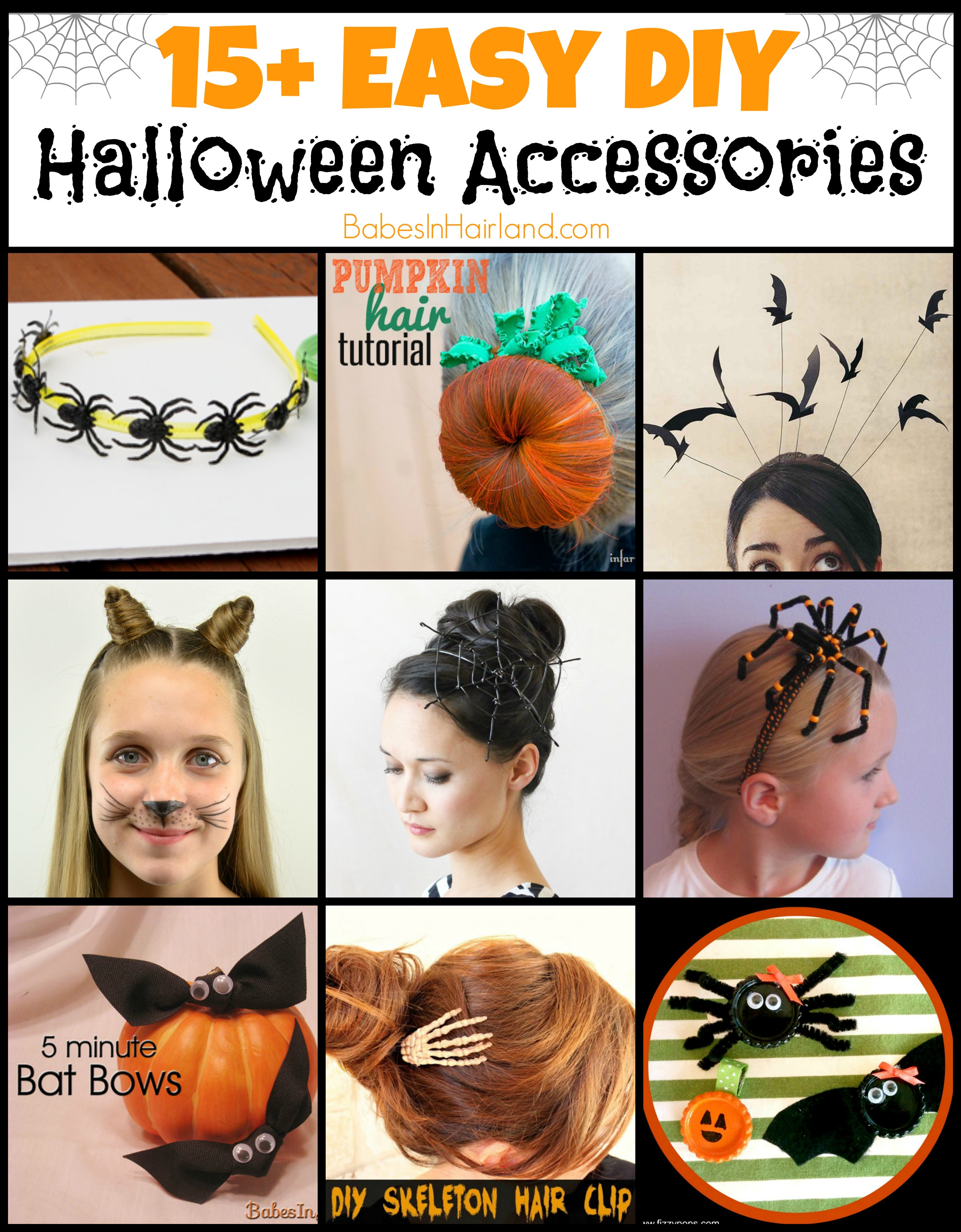 15 Easy Diy Halloween Hair Accessories Babes In Hairland