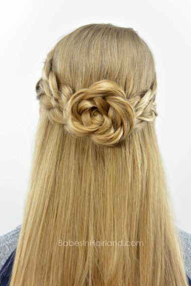 5 Strand Pullback Amp Flower Braid Rosette Babes In Hairland