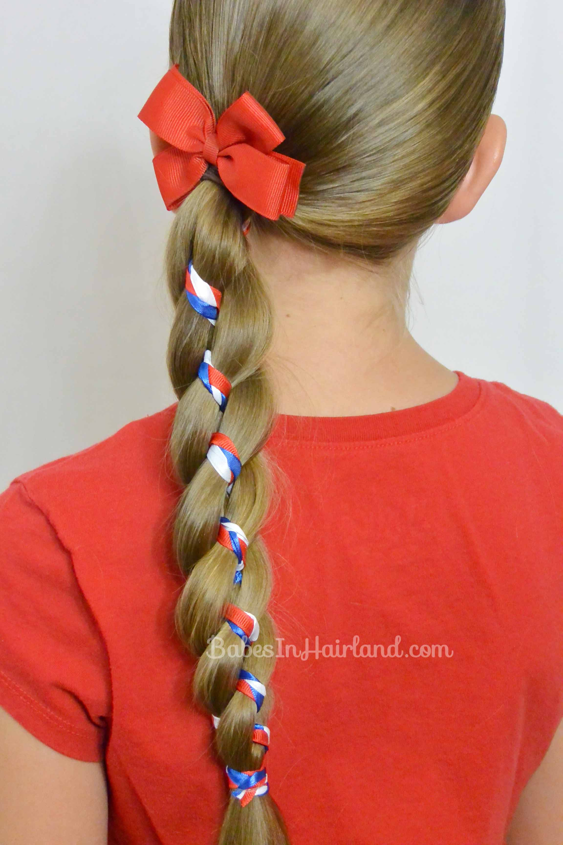 Ribbon Braid In A 4 Strand Braid 4th Of July Hairstyle