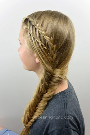 Feather Braided Fishtail Combo from BabesInHairland.com #fishtailbraid #fishbonebraid #waterfalltwist #featherbraid #hair