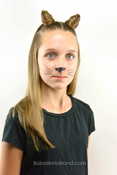 DIY Cat Ears Using Your Own Hair from BabesInHairland.com #halloween #cat #costume #hair