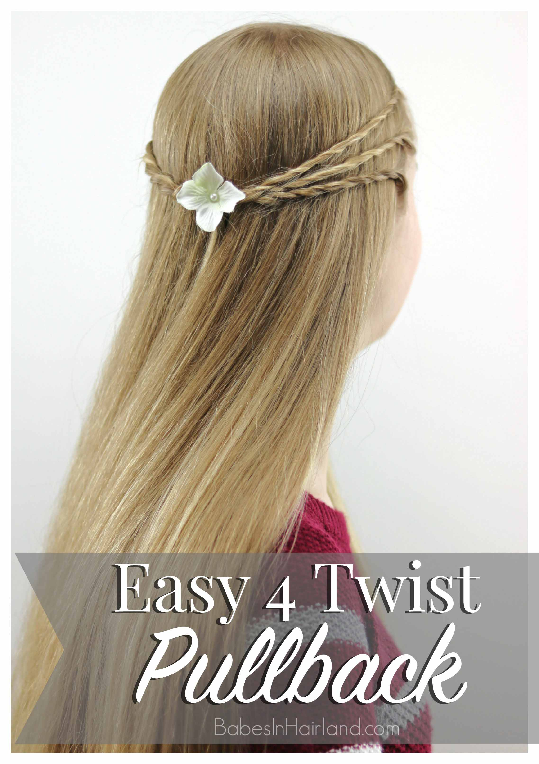 Running late or don't want to spend lots of time on your hair? This easy 4 Twist Pullback hairstyle done by my 14 year old is just what you're looking for! BabesInHairland.com | teen hair | rope twists |