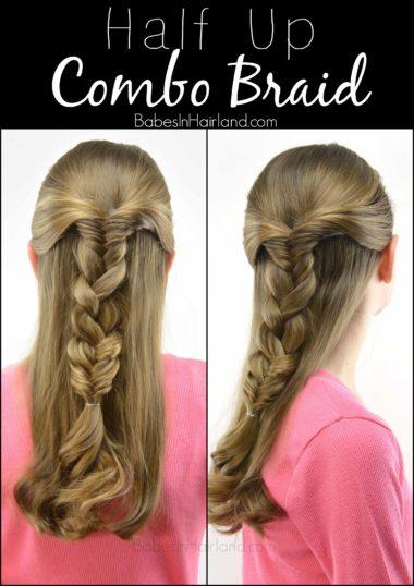 Half Up Combo Braid from BabesInHairland.com #braid #fishbonebraid #hair #hairstyle