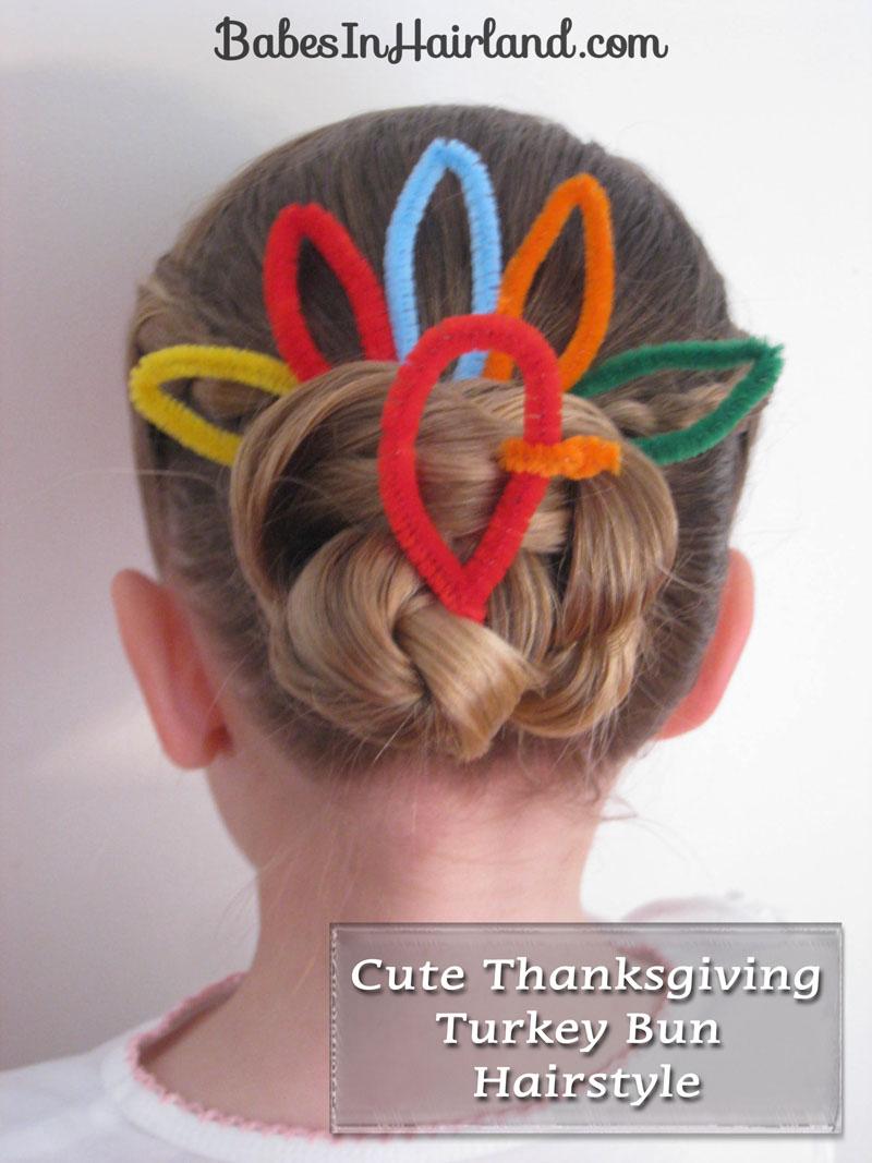 Thanksgiving Turkey Bun Hairstyle Babes In Hairland