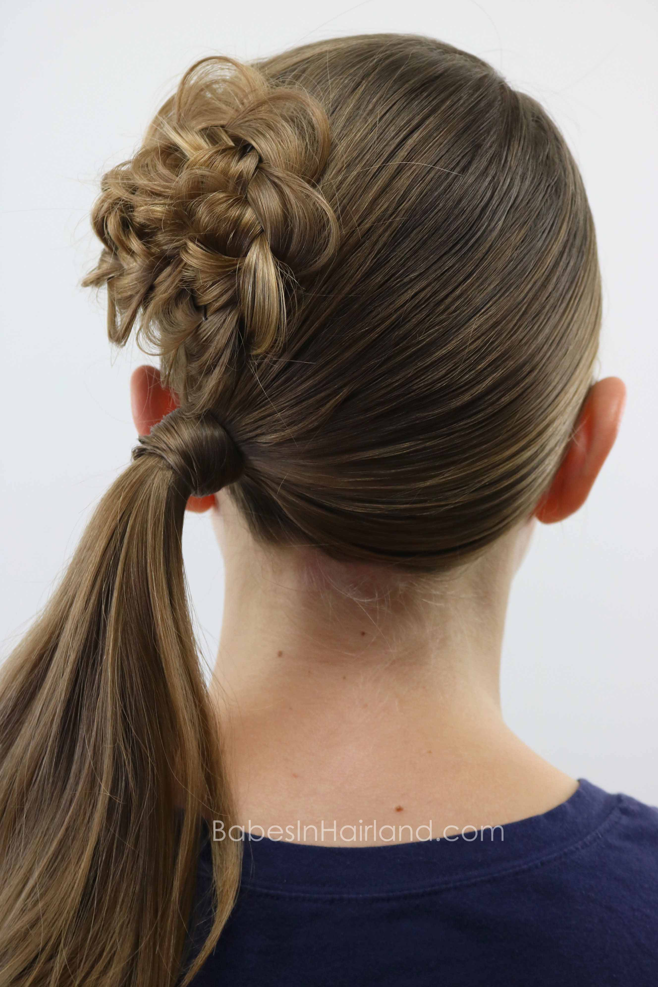 Flower Braid Rosette Topped Ponytail Babes In Hairland