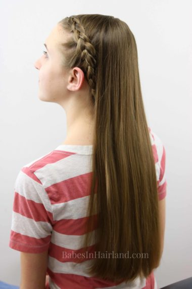This quick Dutch braid hairstyle is done by a 12 year old and is great for a school morning when you're running late. BabesInHairland.com
