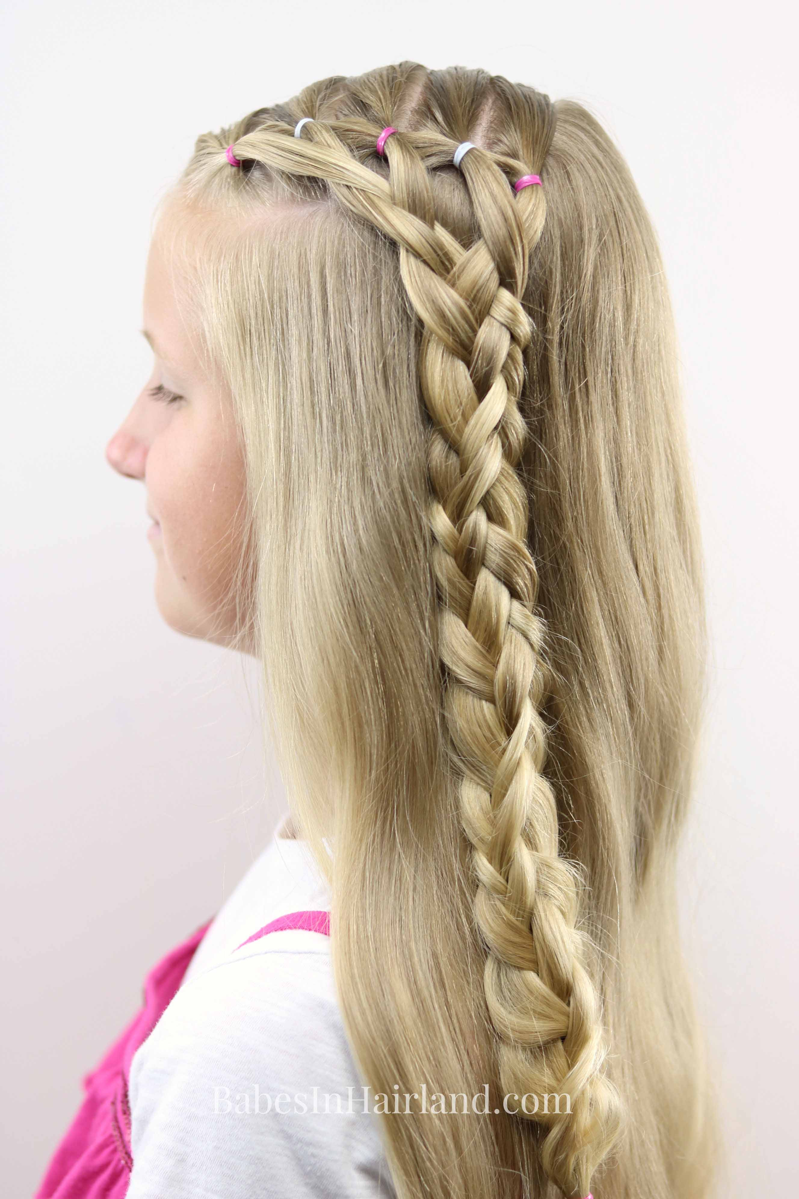 Feathered Ponies And 5 Strand Braid Hairstyle For Girls