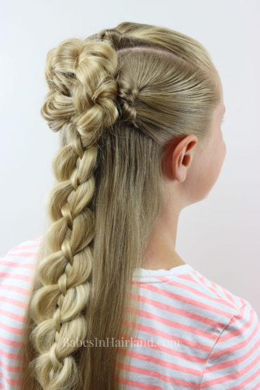Just in time for back-to-school, try this easy braid & knot half-up combo hairstyle from BabesInHairland.com