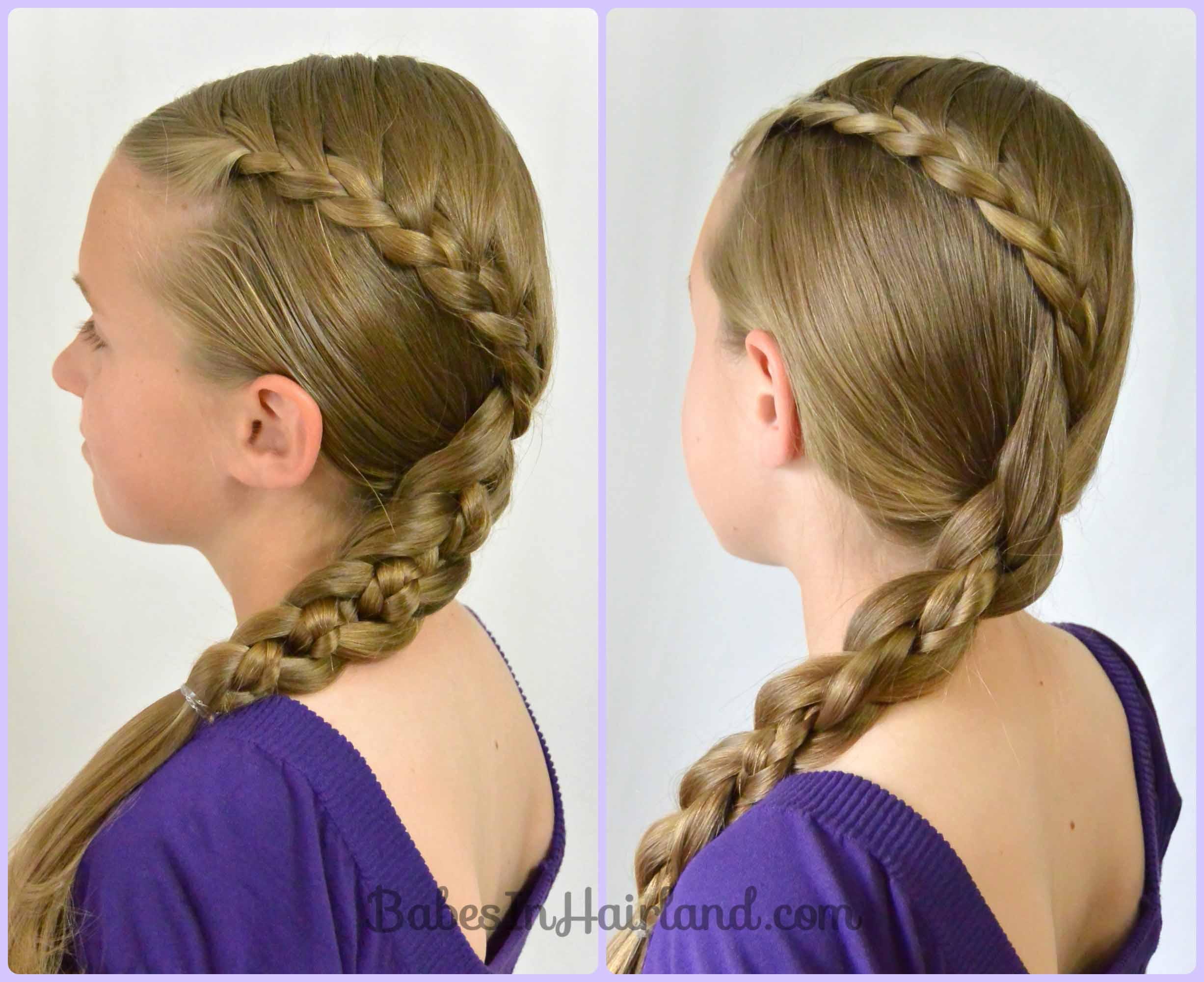 Enjoyable Lace Braid Into A 4 Strand Braid Babes In Hairland Short Hairstyles Gunalazisus