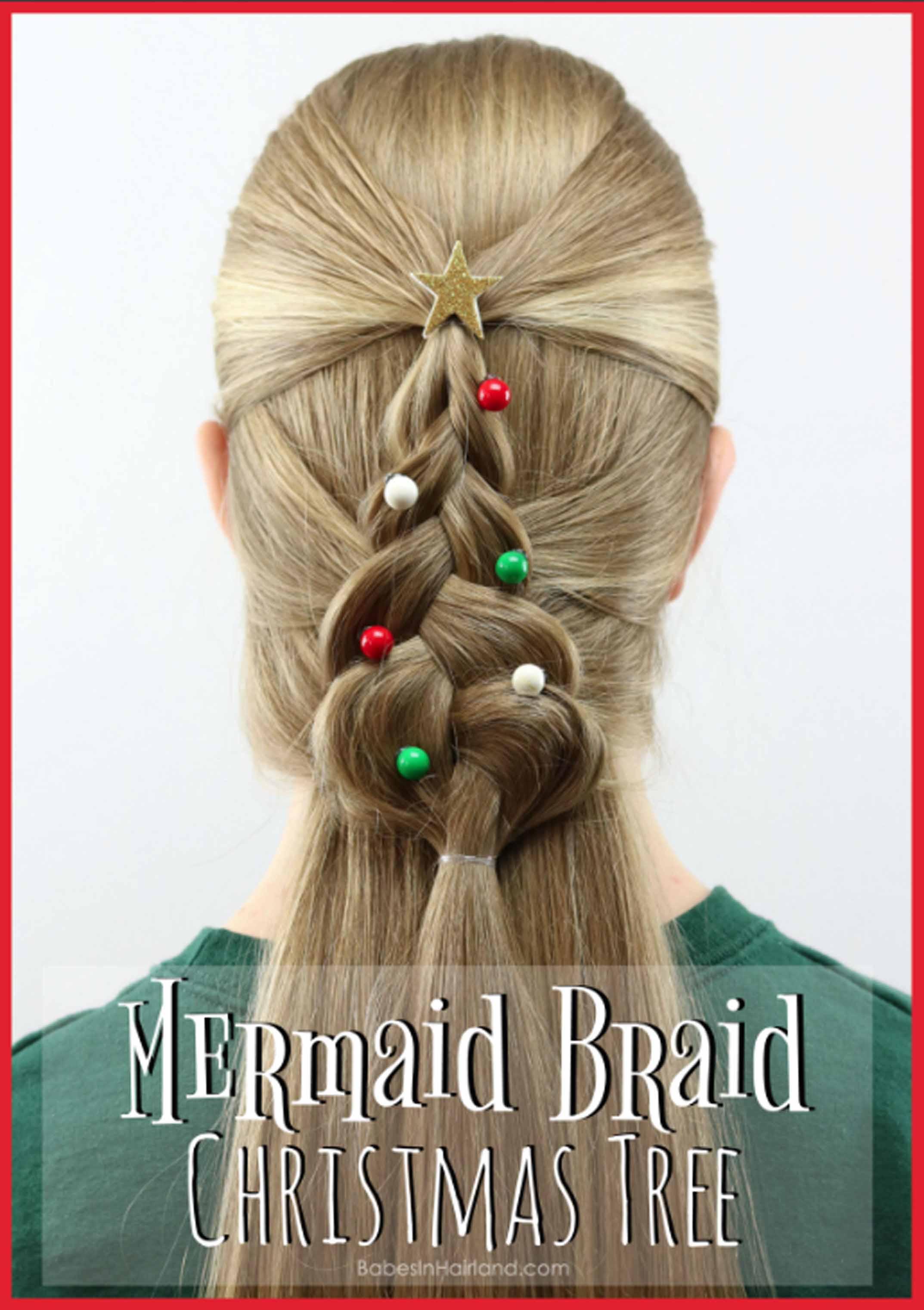 Mermaid Braid Christmas Tree Hairstyle A Cute Christmas Hairstyle