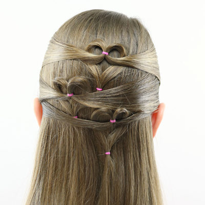 Triple Heart Pullback   Valentine's Day Hairstyle