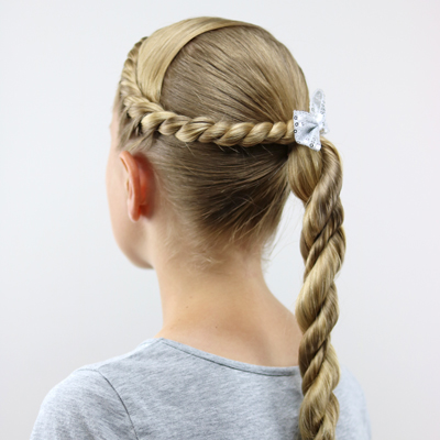 twisted combo hairstyle  a cute school  sports hairstyle