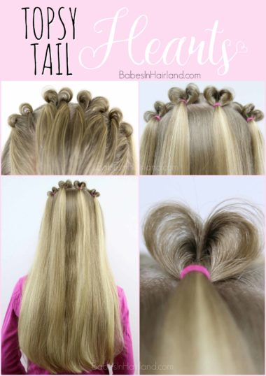 Looking for a Valentine's Day hairstyle? Look no further than this cute Topsy Tail Heart hairstyle from BabesInHairland.com   hair   holiday hair   easy hairstyle