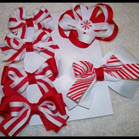 Candy Cane Striped Bows (2)